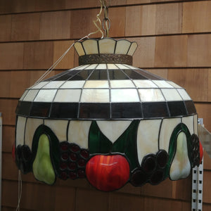 Vintage Stained Glass Fruit Dome Pendant Light