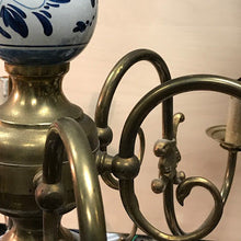 Load image into Gallery viewer, Vintage Delft and Brass Chandelier