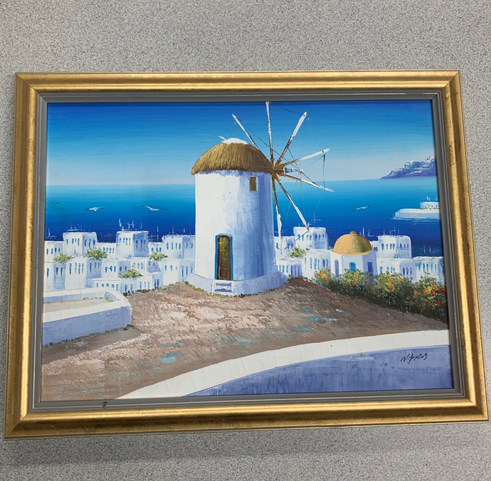 Santorini, Greece Acrylic Painting In Frame