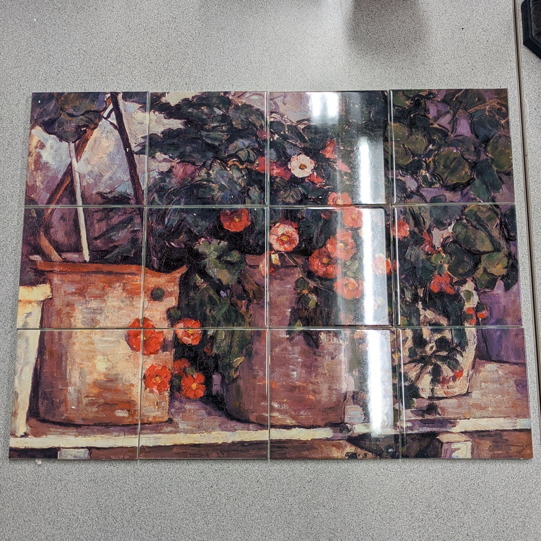 Still Life with Petunias by Paul Cezanne Tile Mural