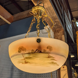 Antique Hand Painted Bowl Chandelier