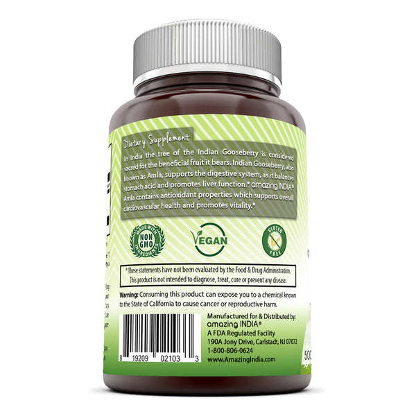 Amazing India Amla (Made with Organic Amla Fruit) 500 Mg  (120 Count) Veggie Capsules (Non-GMO)Supports Digestive,Liver,Brain & Cardiovascular Health Helps Prevent Free Radical Damage