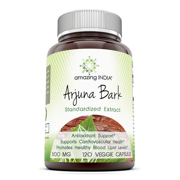 Amazing India Arjuna Bark Standardized to 25% Tannins 500 Mg 120 Veggie Capsules (Non-GMO) - Antioxidant Support* Supports Cardiovascular Health* Promotes Healthy Blood Lipid Levels*