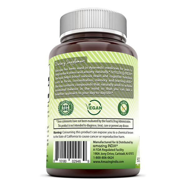 Amazing India Bacopa 500 mg 120 Veggie Capsule (Non-GMO) - Supports Memory and Learning - Promotes a Healthier State of Mind*