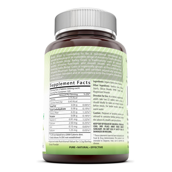 Amazing India Barley Grass Super Green Food 500 Mg 250 Tablets