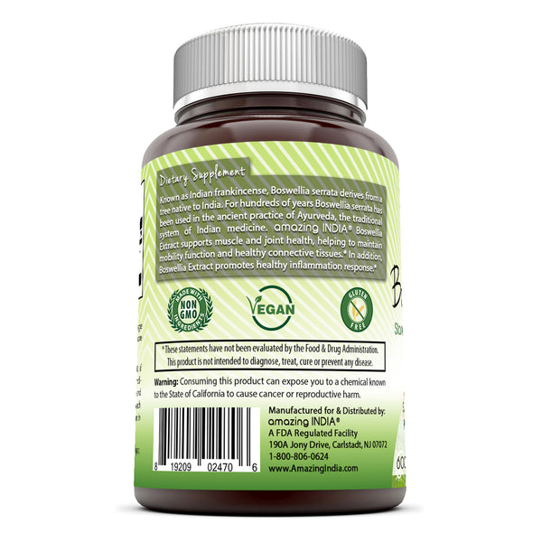 Amazing India Boswellia Extract 600 Mg 120 Veggie Capsules
