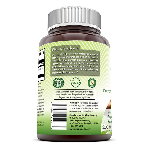 Amazing India DGL 500 mg 60 Vegetarian Capsules (Non-GMO) Anti-inflammatory Properties*Supports Digestive Functions