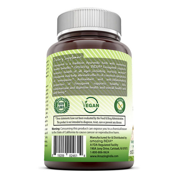 Amazing India Fenugreek 610 Mg 180 Veggie Capsules
