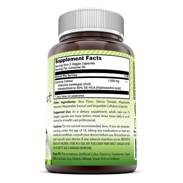 Amazing India Garcinia Cambogia (Contains 60% Hydroxycitric Acid) 1500 mg 180 Vegetarian Capsules (Non-GMO) - Supports Healthy Weight Management, Appetite Control & Lean Muscle Mass*