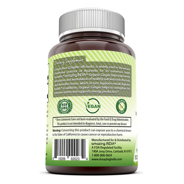 Amazing India Organic Ginger 500 Mg 120 Veggie Capsules