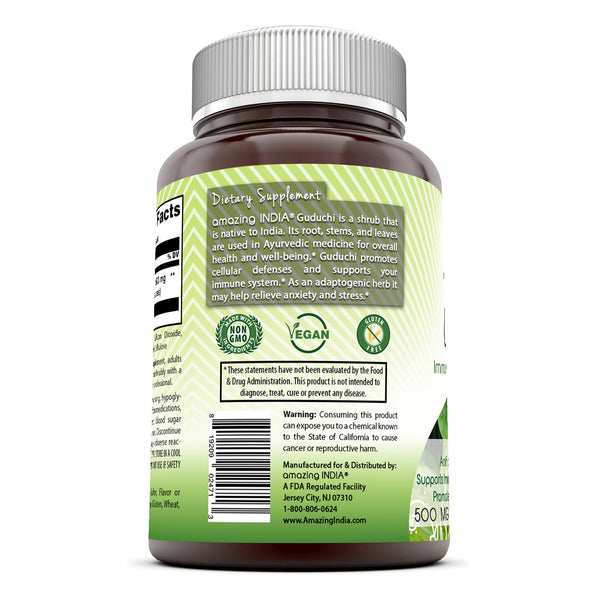 Amazing India Guduchi 500 Mg 60 Veggie Capsules