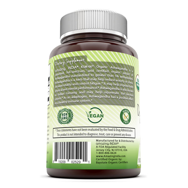 Amazing India KSM 66 Organic Ashwagandha 500 Mg 120 Organic Tablets