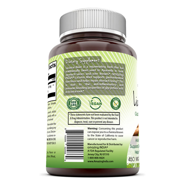 Amazing India Licorice Root 450 Mg 120 Veggie Capsules