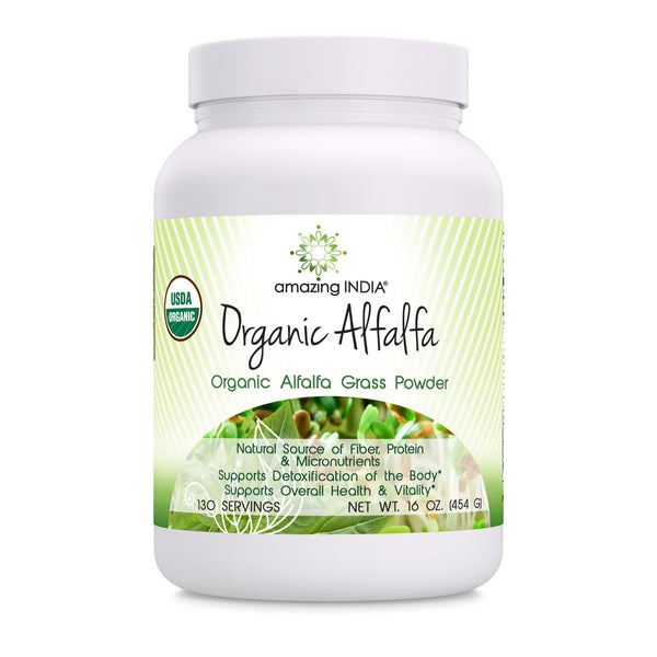 Amazing India Organic Alfalfa Powder 16 Oz (481.94 Gm) - USDA Certified Organic- Raw, Vegan Plant-Based Nutrition- Supports Digestive Health, Detoxification and Immune Health*