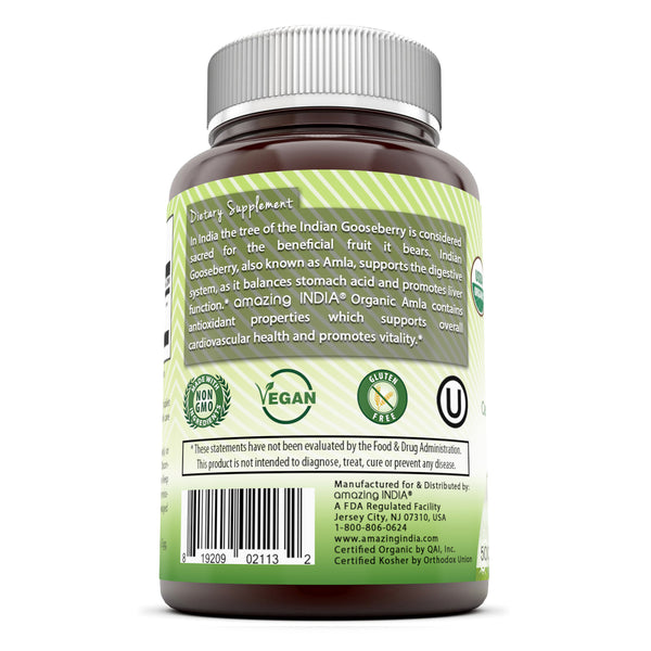 Amazing India USDA Certified Organic Amla 500 mg 120 Vegetarian Tablets (Non-GMO) -Supports Cardiovascular Health, Energy Production, Overall Health & Vitality*
