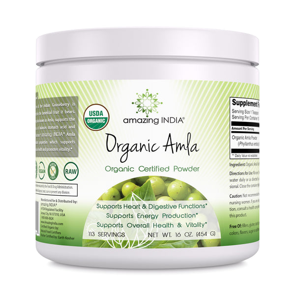 Amazing India USDA Certified Organic Amla Powder (Non-GMO) 16 oz Raw, Vegan- Gluten-Free Rich source of Vitamin C- Supports Immune System- Promotes Skin Health- Glucose Metabolism - Natural Laxative