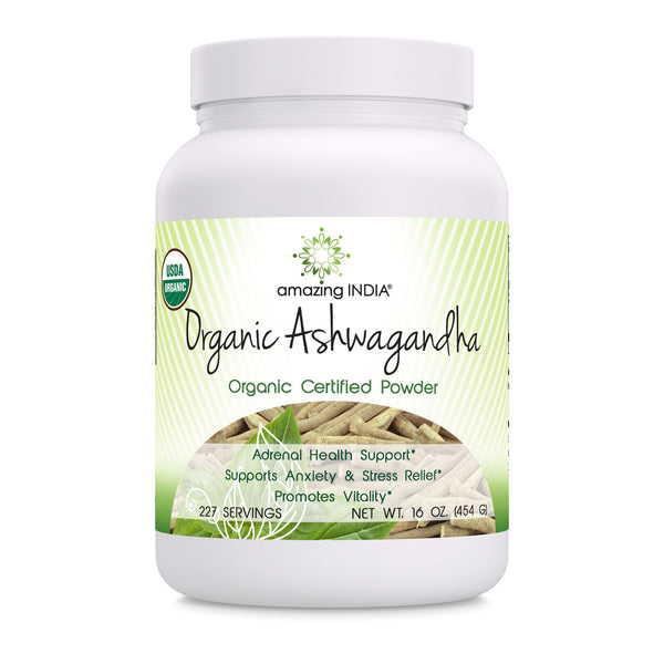 Amazing India USDA Certified Organic Ashwagandha Powder (Non-GMO,Gluten Free) 16 oz - Raw, Vegan- Gluten-Free, Plant-Based Nutrition – Promotes Cardiovascular Health, Immune Function, Relaxation