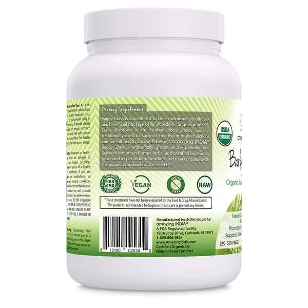 Amazing India USDA Certified Organic Barley Grass Powder (Non-GMO) 482 Gm (16 Oz) -Natural Souce of Vitamins & Minerals* Promotes Antioxidant Activities* Supports Overall Health & Well-Being*