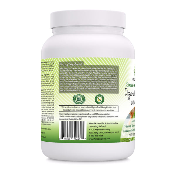 Amazing India Organic Whey Protein With Turmeric 12 Oz
