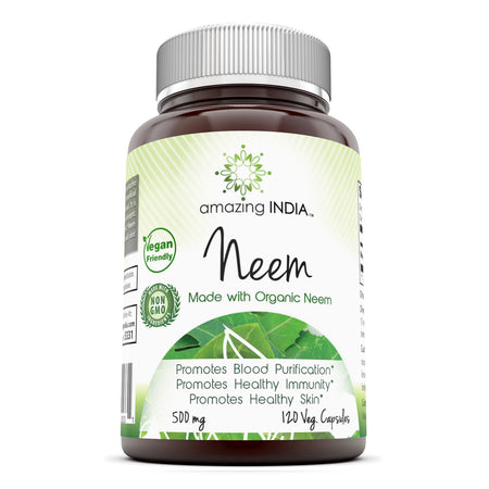 Amazing India Neem(Made with Organic Neem Leaf)500 mg 120 Veggie Capsules (Non-GMO,Gluten Free) Raw, Vegetarian-Plant-Based Nutrition–Promotes Blood Purification,Healthy Immunity&Healthy Skin