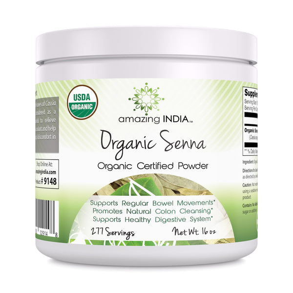 Amazing India USDA Certified Organic Senna Powder 16 oz-Raw, Vegan- Gluten-Free, Plant-Based Nutrition Promotes Regularity,Digestive Health,Detoxification & Overall Well-Being
