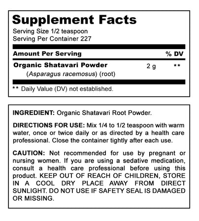 Amazing India USDA Certified Organic Shatavari Powder - 16 oz - Raw, Vegan- Gluten-Free - Ayurvedic Herb to Support Women Health* Balances Hormones In Women