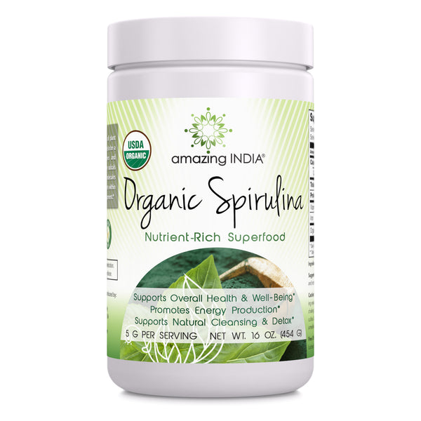 Amazing India Organic Spirulina Powder (Non-GMO) 16 oz (454 gm) - Supports Cell Regeneration, Immune Health, Detoxification & Overall Health*