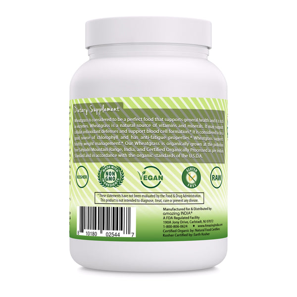 mazing India USDA Certified Organic Wheatgrass Power (Non-GMO) 482 gm (16 oz ) *Helps in the Formulation of Hemoglobin , Supports Healthy Weight Management,Promotes Overall Health & Well-being *