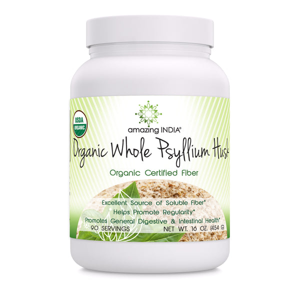Amazing India Organic Whole Psyllium Husk 16 Oz