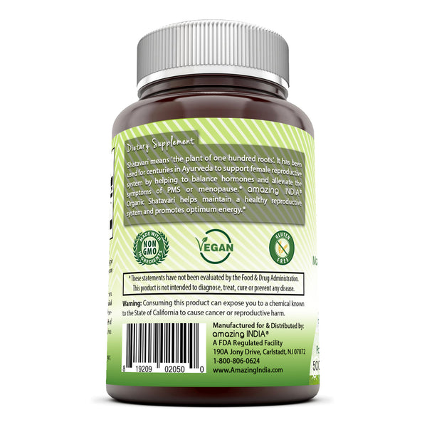 Amazing India Shatavari (Made with Organic Shatavari Root) 500 mg 120 Veggie Capsules (Non-GMO) *Supports Women's Health* Promotes Hormonal Balance* Supports Reproductive Functions*