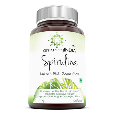 Amazing India Spirulina – 500 mg 500 Tablets (Non-GMO) - Supports Cell Regeneration, Immune Health, Detoxification & Overall Health
