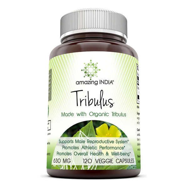 Amazing India Organic Tribulus 630 mg, 120 Veggie Capsules (Non-GMO,Gluten Free) Raw, Vegan,Plant-Based Nutrition. Supports Men's Reproductive Health, Promote Lean Muscle Mass, Supports Heart