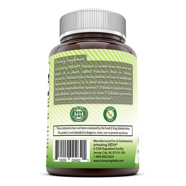 Amazing India Tribulus Extract Dietary Supplement - 1000MG  (90 Tablets) (Non-GMO) - Standardized to Contain Min. 45% Saponins - Supports Lean Muscle Mass, Promotes Cardiovascular Health, Immune System