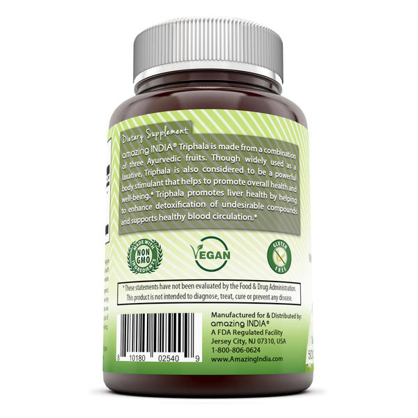 Amazing India Triphala (Made with Organic Triphala Fruit) 500 Mg, 120 Veggie Capsules (Non-GMO) - Supports Natural Internal Cleansing - Promotes Healthy Digestive Function - Antioxidant Support.