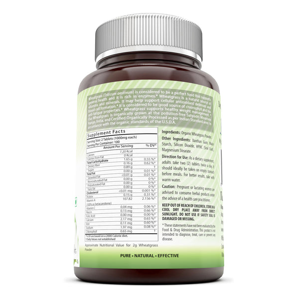 Amazing India Organic Wheatgrass 1000 Mg 200 Tablets