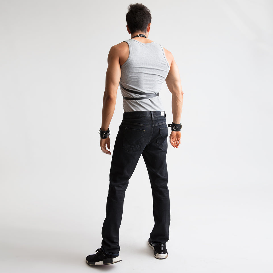model wearing new york mens body harness