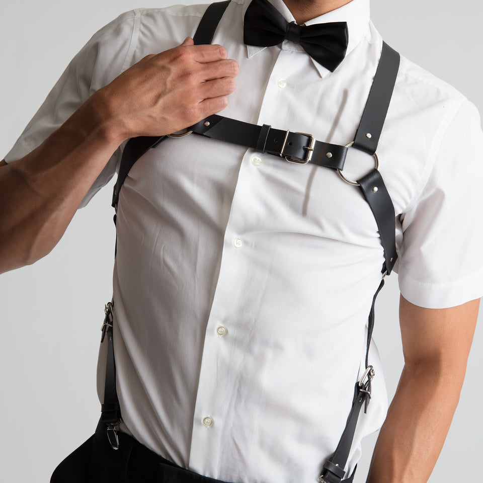 model wearing savage mens body harness