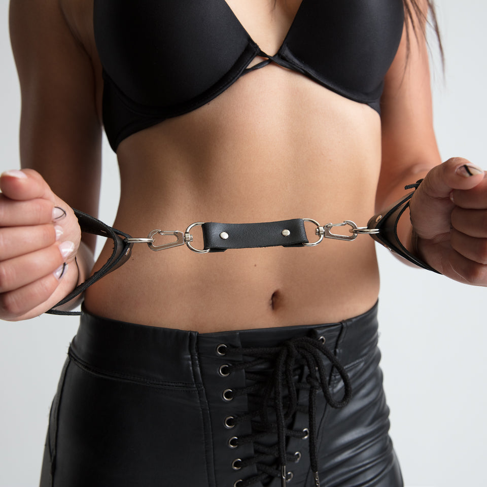 model wearing handcuffs womens bracelet