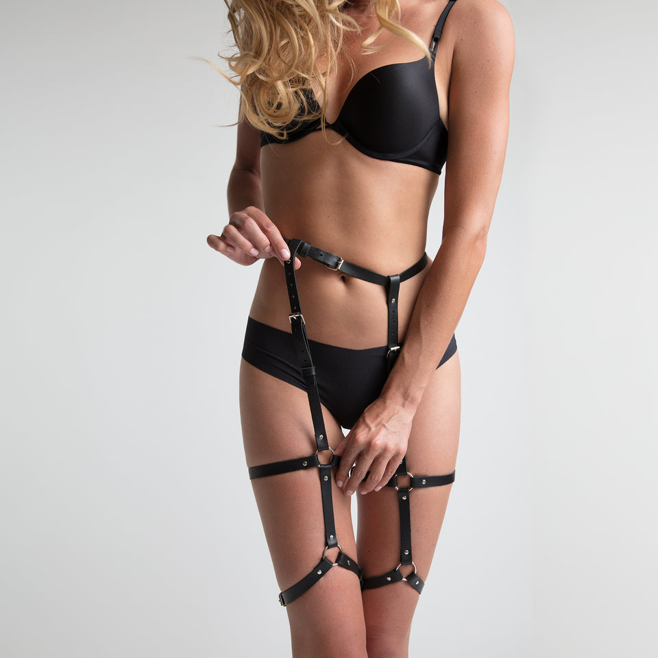 model wearing classic garter belt