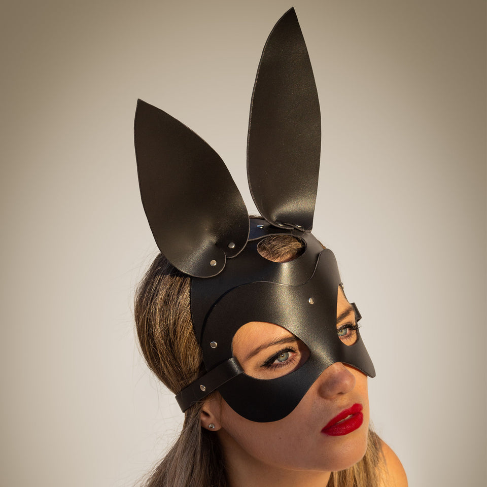 model wearing bunny mask