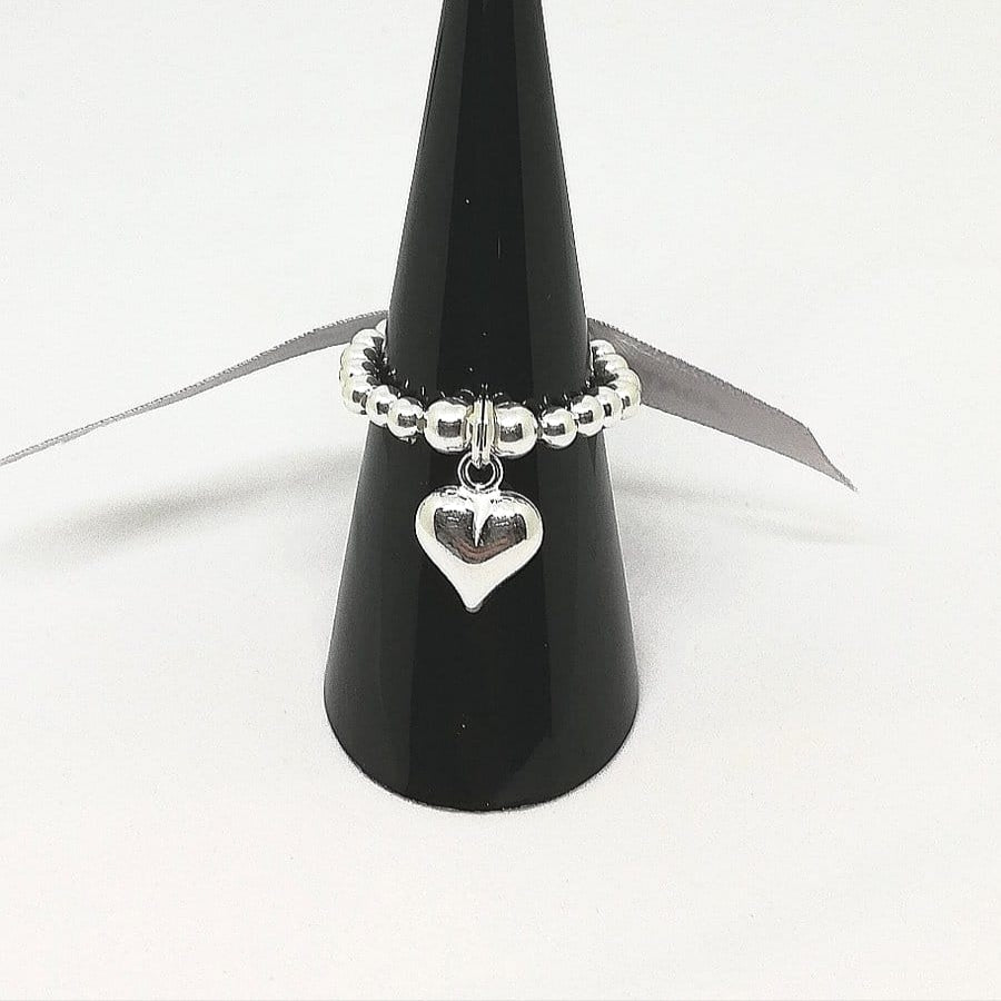 Sterling Silver puff heart ring