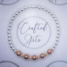 Load image into Gallery viewer, Sterling Silver and Rose Gold Beaded Bracelet