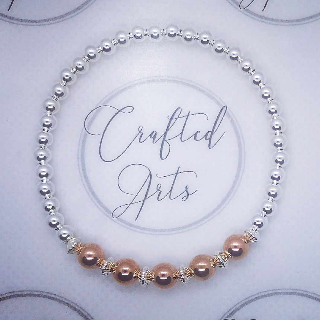 Sterling Silver and Rose Gold Beaded Bracelet