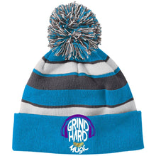 Load image into Gallery viewer, GrindHardMusic Holloway Striped Beanie with Pom