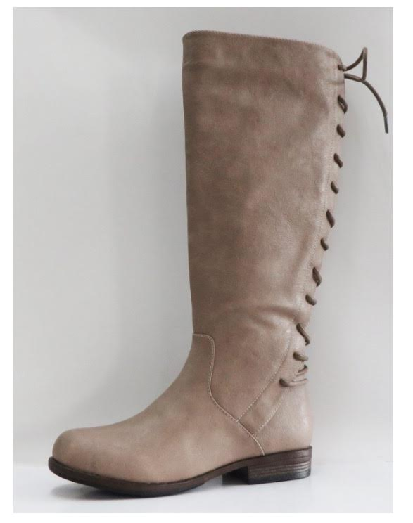 SHOES {Bamboo} Taupe Boots With Back Lace up Design