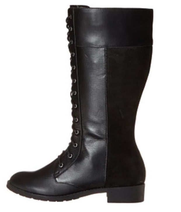 SHOES {Fitzwell} BLACK Combat Lace-Up WIDE Calf Boots