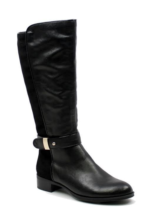 SHOES {Machi} Black Suede-Back Boots with Accent Buckle