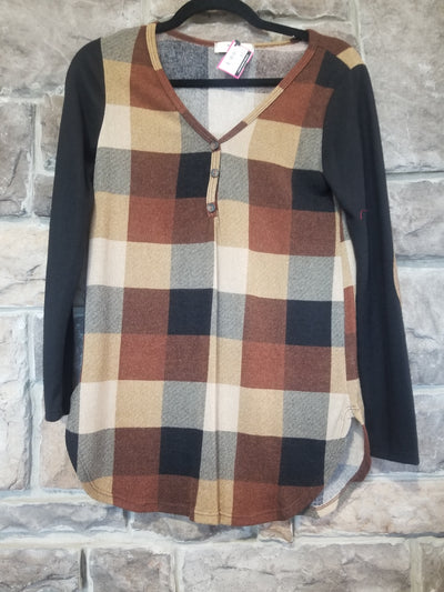 CP-C {Fall Favorite} Tan & Black Plaid Button Detail Top
