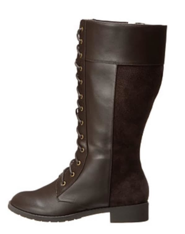 SHOES {fitzwell} Dark Brown Lace-Up WIDE Calf Boots