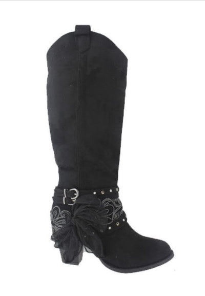 SHOES {Pierre Dumas} Black Suede Boots with Heel